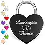 LIEBESSCHLOSS-FACTORY Engraved Heart Padlock Black, Free Gift-Box and Much More… Get Your Customized