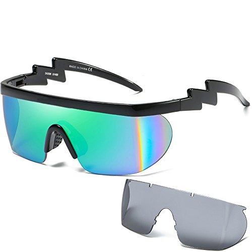 Loviza occhiali da sole ciclismo sole sportivi da donna uomini con 2 lenti intercambiabili occhiali da moto per ciclismo, baseball, pesca, sci da corsa, golf