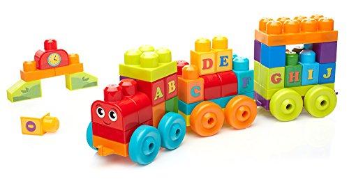 Mega Bloks - Bloques de construcción, Tren de aprendizaje ABC (Mattel DXH35)
