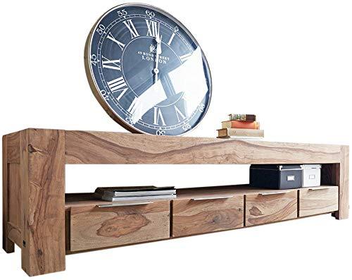 DELIFE Fernsehtisch Blokk 200 cm Massivholz 4 Schübe Lowboard