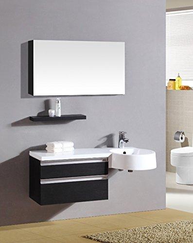 Mobile Arredo Bagno 100cm sospeso wengè con lavabo decentrato con Specchio Mobili 1 l