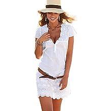 Elecenty Damen Kurzarm Spitzekleid Sommerkleid,Rock Mädchen Tief V-Ausschnitt Kleider Frauen Solide Kleid Minikleid Kleidung Abendkleider Partykleid MaxiKleid kein Gürtel