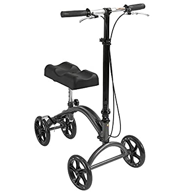 Drive DeVilbiss Healthcare Height Adjustable Knee Walker with Hand Brakes and Fold Down Tiller