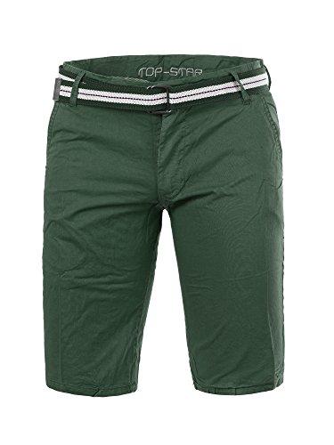 M431 TOP-STAR Herren Bermuda Stoffhose kurze Hose Shorts Bermudas Hosen Gürtel Dunkelgrün