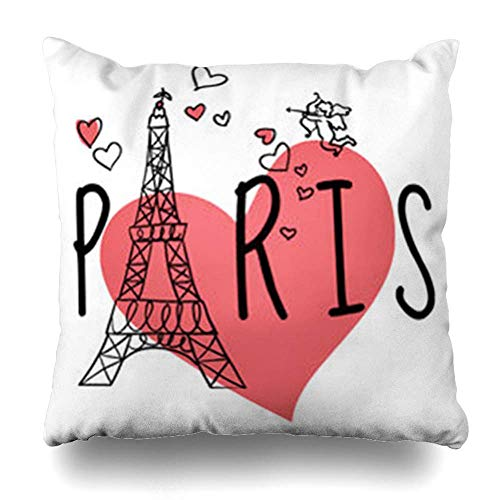 Zierkissenbezüge, Throw Pillow Covers, Cupid Red Love Paris Eiffel Tower Hearts Text Arrow Angel Black Color Day Doodle Valentine Pillowcase Square Size 18 x 18 Inches Home Decor Cushion Cases