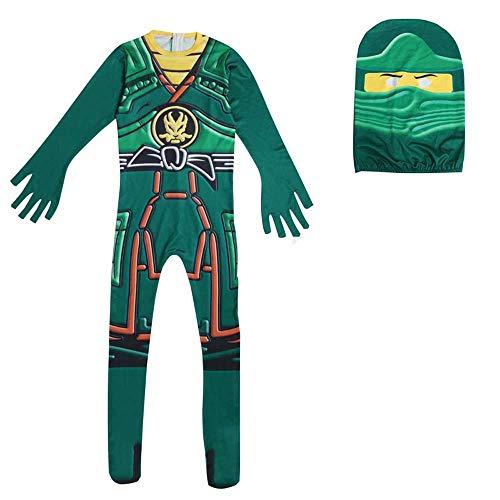 QYS Jungen Power Ninja Schwarz Rot Kostüm Halloween Kinderkostüm,Grün,110cm (Grüne Power Ranger Samurai Kostüm)