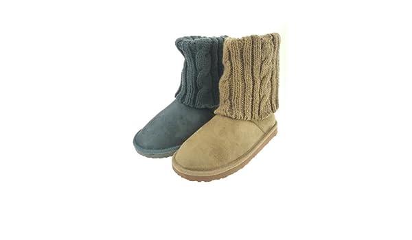 Damenstiefel Boots Strick Stiefel Strickstiefel (WST44) in