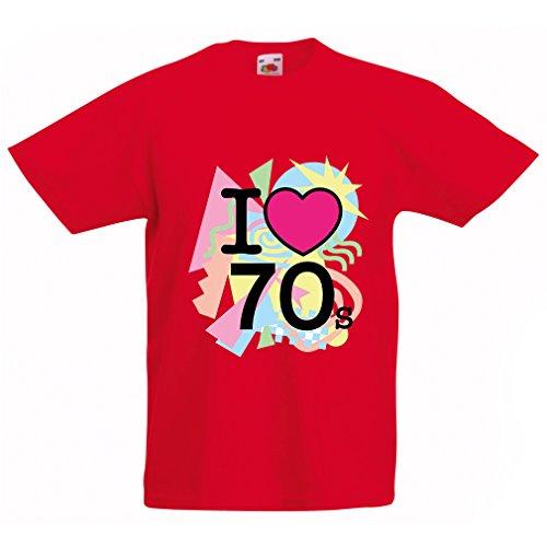 Kinder T-Shirt I love 70's - vintage style clothing (9-11 years Rot (1980er Jahre Kostüme Lustig)