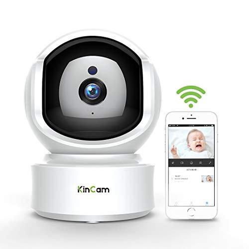 WLAN IP Kamera Indoor 1080P, KinCam Nanny Kameras Babyphone Haustier Monitor,Cloud Speicher,mit Bewegungsmelder/IR Nachtsicht/2 Weg Audio Ideal Für IOS,Android und Win7-10