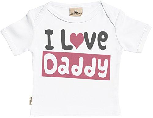 SR - Milchtüte Geschenkbox - I Love Daddy Kurzarm Baby T-Shirt - Kleinkind T-Shirt - Baby Shirt - Baby Geschenkset - 0-6 Monate Weiß (Love T-shirt Baby Daddy)