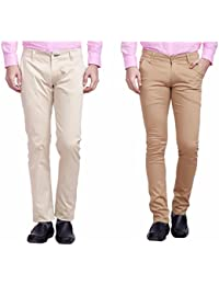 Nimegh Cream And Beige Color Cotton Casual Slim Fit Trouser For Men's (Pack Of 2)