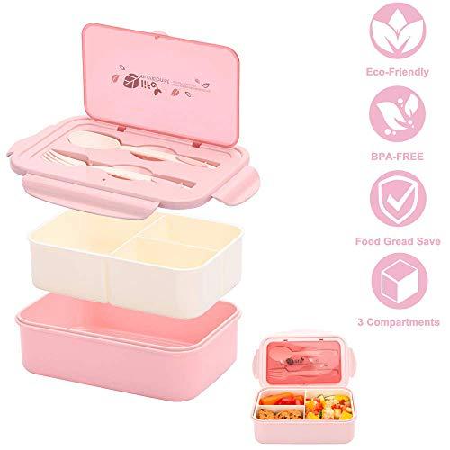 Unique store 1400ml lunch box, porta pranzo, kids bento box con 3 scomparti e posate(forchetta e cucchiaio), lavastoviglie/approvato dalla fda/senza bpa.(rosa)