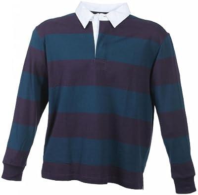 B4088–Camiseta polo de manga larga, de jersey grueso, en estilo de rugby