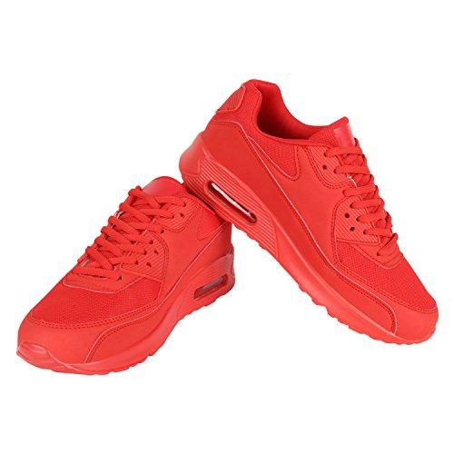 Stiefelparadies Herren Sportschuhe Leder-Optik Sneakers Velours Glitzer Metallic Runners Freizeitschuhe Schnürer Flandell Rot Rot