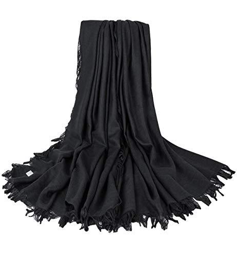 Superora Bufanda para Mujer Invierno Lino y Algodón Chal Manta Mantón Fular Pañuelo Color Puro con Borlas 140 * 140cm