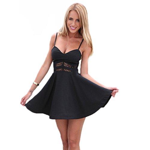 Hengsong Femme Sexy V-col Chanvre Fête Robe Mini- Jupe Noir