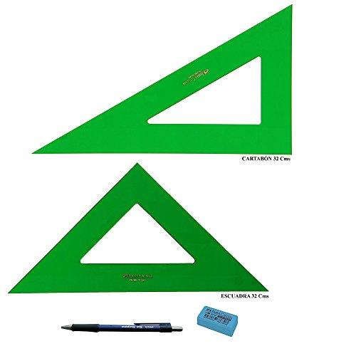 PACK LOTE Faber Castell Técnico - Escuadra 566-32 Cms + Cartabón 666-32 Cms + REGALO