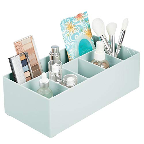 mDesign Schminkaufbewahrung für Wasch- oder Schminktische - Aufbewahrungsbox aus BPA-freiem Kunststoff für Make-up - moderner Kosmetik Organizer mit 6 Fächern - Mint grün