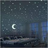 FRETOD Stelle Fluorescenti e Grande Luna (24cm) - 300 Pezzi Adesivi da Parete Fluorescenti per la Camera dei Bambini