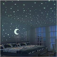 Idea Regalo - FRETOD Stelle Fluorescenti e Grande Luna (24cm) - 300 Pezzi Adesivi da Parete Fluorescenti per la Camera dei Bambini