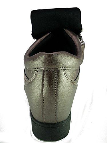 Shoes Scarpe da Passeggio Donna Ragazza Moda Comoda New Tacco Basso Bronzo