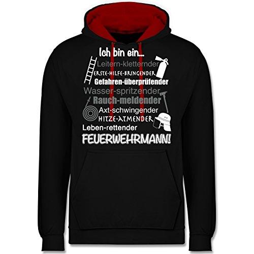 Feuerwehr - Ich bin ein ... Feuerwehrmann! - Kontrast Hoodie Schwarz/Rot