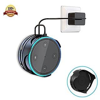 [Upgrade] Wandhalterung für Amazon Echo Dot 2. Generation IMEEK Stick-on Anywhere Halter Kleiderbügel Ständer mit Cord Wrap für Smart Home Lautsprecher-Schwarz