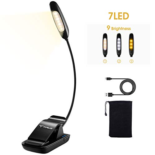 TOPELEK Lámpara de Lectura 7 LED 9 Niveles de Intensidades Flexo de Pinza Lampara Recargable con Cable USB, Bolsa para Kindle, Ebook, Ideal regalo de navidad