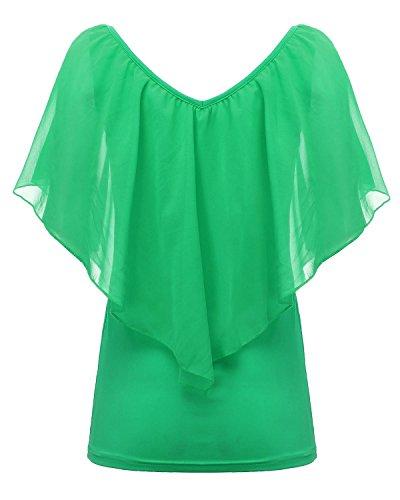 Minetom Donne Estate Slim Chiffon Cime Sexy Scollo A V Camicetta Shoulder-Off Camicie Verde