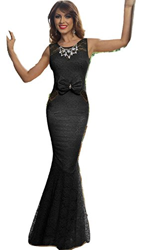 Elegante Damen Lang Schwarz Spitze Open Back Strass Ausschnitt Abend Cocktail Ball Kleid Party Cruise Dance Club Wear Größe UK 12EU 40 (Lange Open Back Kleid)