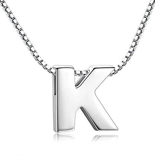 Candyfancy 925 Sterling Silber Halskette Buchstabe Anhänger Damen A-Z (K With Chain)