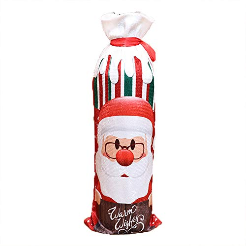 Mitlfuny Weihnachtsset Weinflaschenabdeckung, Pullover Weihnachten Weihnachtsmann Weinflasche Cover Home Party Dekoration Geburtstagsgeschenk Tischdeko