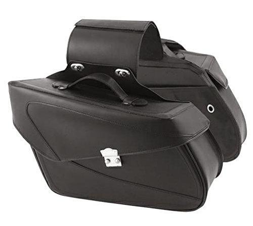 A-Pro Bolsas Alforjas Duro Bolso Lateral Custom Moto Universal Negro Saddle Bags
