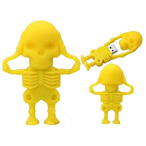 TAOtTAO 8G / 16G / 32G Schädelkopf U Festplatte USB 2.0-Flash-Laufwerk Neuheit Schädel Skelettform Pen Drive Flash Disk (Gelb, 32G) 8g Ssd
