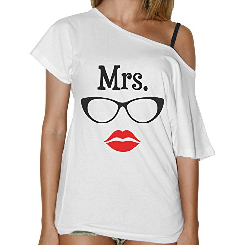 T-Shirt Donna Collo Barca Mrs. Occhiali Labbra Rosse Bianco