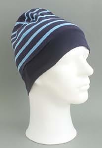 Rollmütze mit unifarbenen Rand blau - azur hellblau gestreift für Erwachsene von Modas
