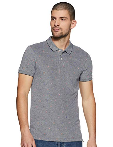 Scotch & Soda Herren AMS Blauw Polo Shirt with Allover Print Poloshirt, Mehrfarbig (Combo C 19), XX-Large (Herstellergröße: XXL) -