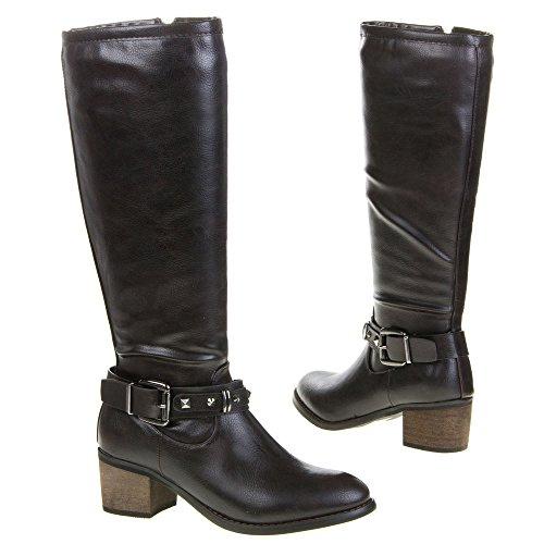 Chaussures femme, QQ-39 Bottes Marron - Marron foncé