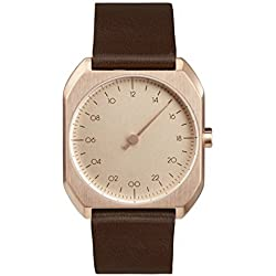 slow Mo 10 - Dark Brown Leather Rose Gold Case Rose Gold Dial Unisex Quartz Watch with Rose Gold Dial Analogue Display and Dark Brown Leather Strap