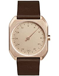 Slow Mo 10 - Dark Brown Leather, Rose Gold Case, Rose Gold Dial slow Mo 10 - Mouvement Cristal de roche - Affichage Analogique - Bracelet Cuir Marron foncé et Cadran Or rose - Mixte