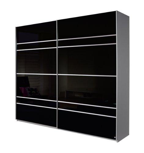 Rauch Schwebetürenschrank mit Fronten Glas Schwarz, Korpus und Absetzungen in Alu gebürstet Nachbildung 2-türig, BxHxT 270x210x62 cm