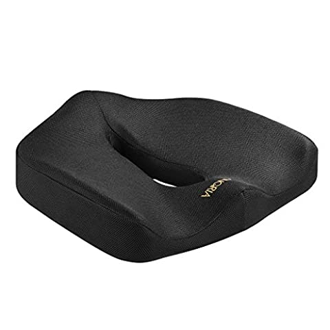 LANGRIA Contoured Orthopaedic Firm Memory Foam Seat Cushion, Anti-Slip Bottom, Built-in Handle, Ventilated Hollow Gap, Office Chair and Car Seat Cushion for Back, Coccyx, Sciatica Pain