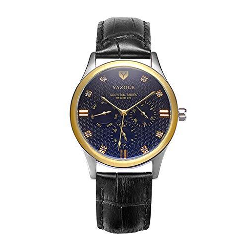 REALIKE Herren Uhr Chronograph Analogue Quartz Wasserdicht Business Schwarz Zifferblatt Armbanduhr mit Leder Armband Cool Sportuhr Outdoor Laufen mit für Männer
