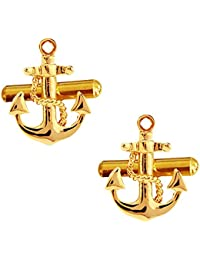 Miami Men's Gold Boat Anchor Sailors Ocean Design Cufflinks with Gift Box for Shirts and Blazers