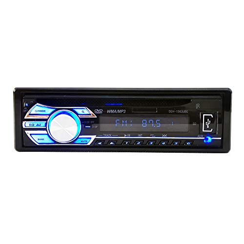 ZJYYD Universal Auto CD Player, Auto DVD Player, 1563 12V 1Din MP3 Reader mit großem LCD Scree/One Button Mute/Power Off Memory - Cd-player Auto-off