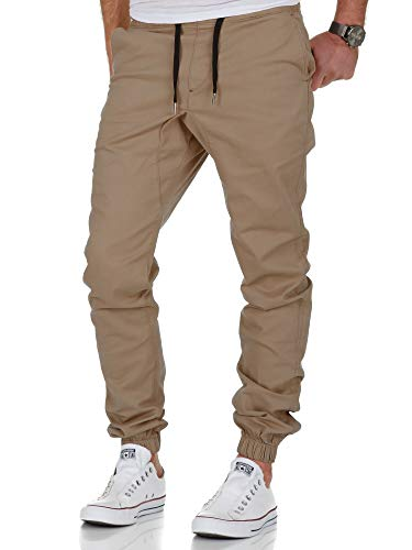Amaci&Sons Herren Stretch Jogger Basic Chino Jeans Hose Cargo 7002 Beige W36 Beige Chino