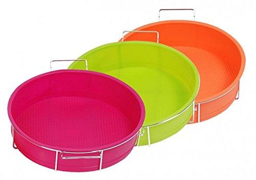 Silikon Backform 25 cm Ø - orange, grün oder pink - Silikonbackform mit Metallgestell - Tortenform silikon - Kuchenbackform - Kuchenform - Torte, Farbe:Pink