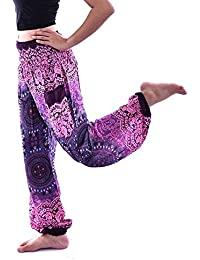 VJGOAL Unisex Moda Casual Estilo Boho Imprimir Pantalones de Yoga Festival Hippy Batas Harem Pantalones Cintura