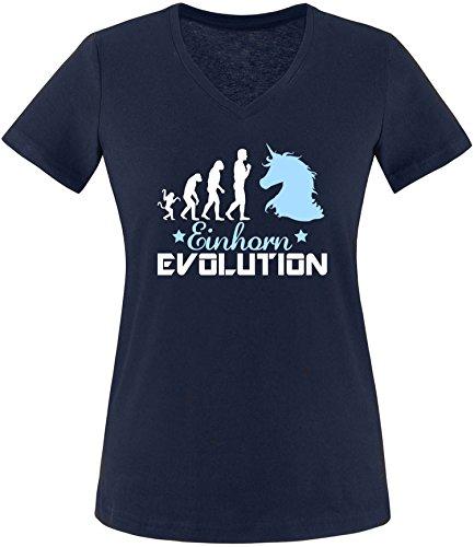 EZYshirt® Einhorn Evolution Damen V-Neck T-Shirt Navy/Weiß/Hellbl