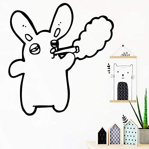 Kreative Kaninchen Wandtattoo Wohnzimmer Removable Wohnzimmer Schlafzimmer Wandkunst Aufkleber Wandbilder vinilo decorativo 42x44cm - Mulch Gold